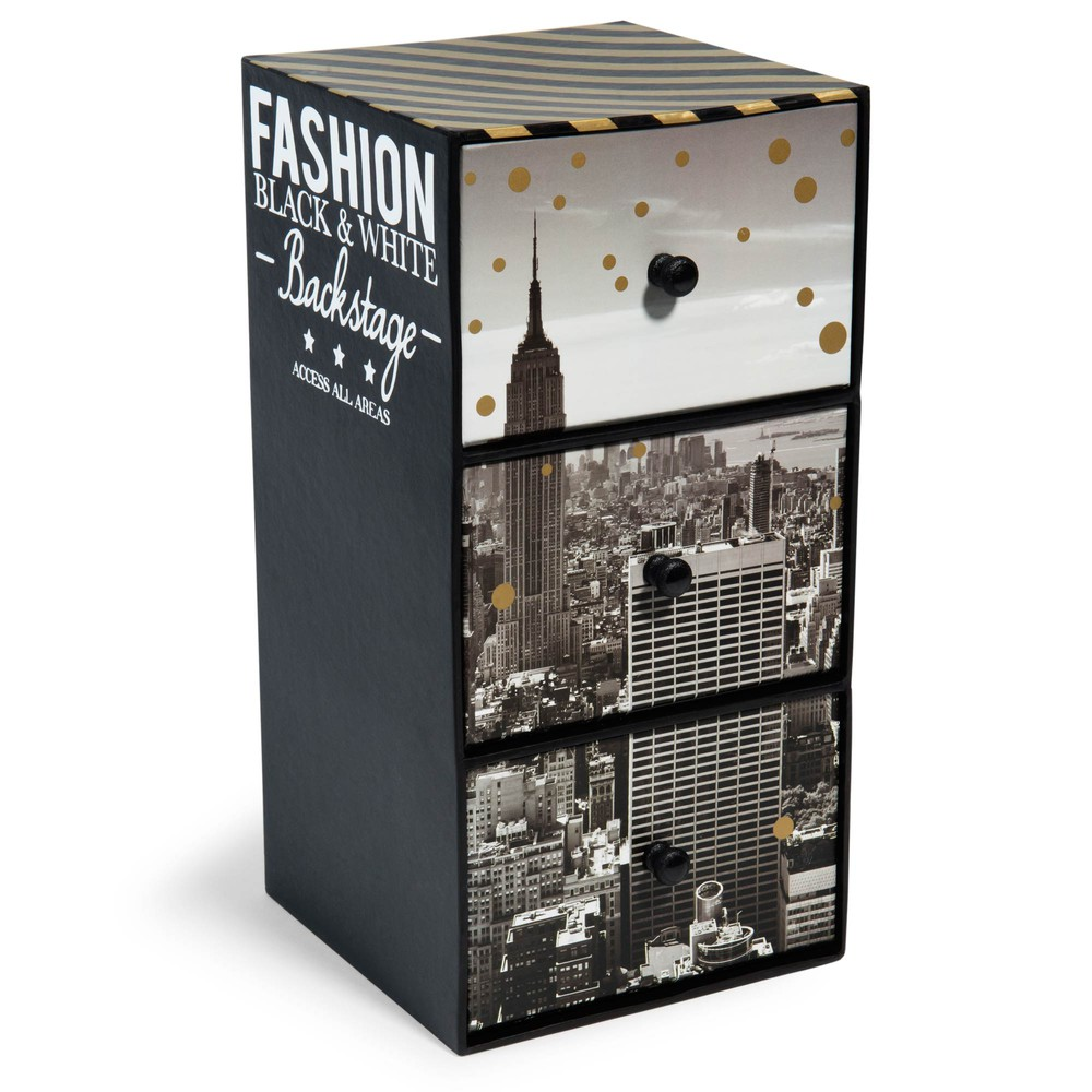 Bo te 3 tiroirs en carton h 24 cm nyc fashion maisons du for Decoration boite en carton