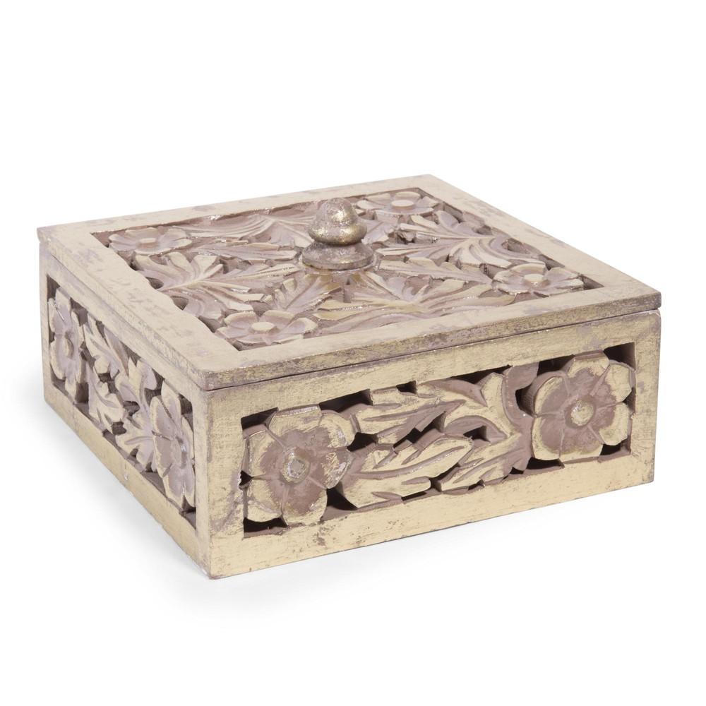 Bo te bijoux en bois sculpt 10 x 20 cm gold maisons for Decoration boite a bijoux
