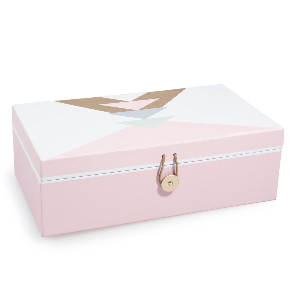 Bo te bijoux en carton rose blanche malvina maisons du for Decoration boite a bijoux