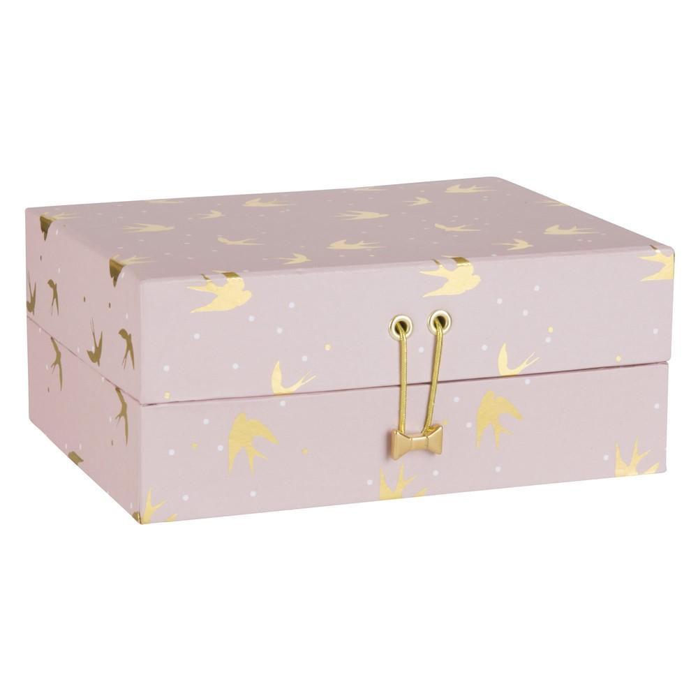 Bo te bijoux en carton rose motifs oiseaux maisons du for Decoration boite carton