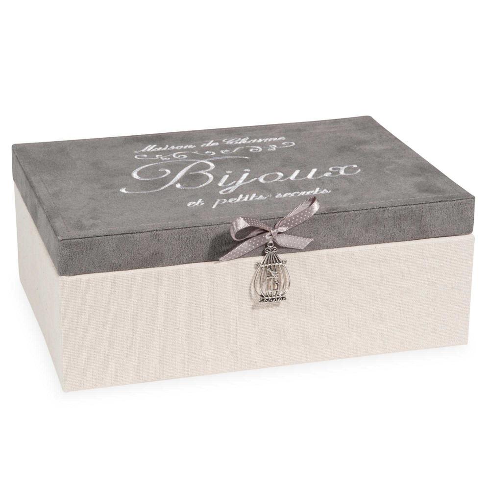 Bo te bijoux en tissu beige et grise h 9 cm secrets - Boite deco maison du monde ...