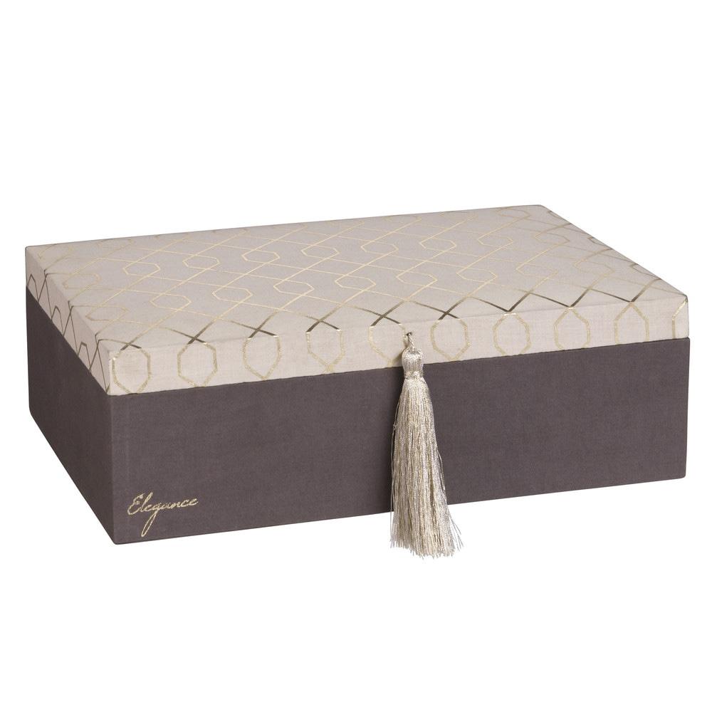 bo te bijoux en tissu gris maisons du monde. Black Bedroom Furniture Sets. Home Design Ideas