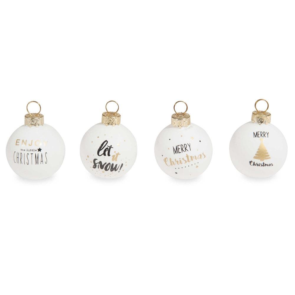 Bo te de 4 boules de no l en verre enjoy christmas - Boule de noel maison du monde ...