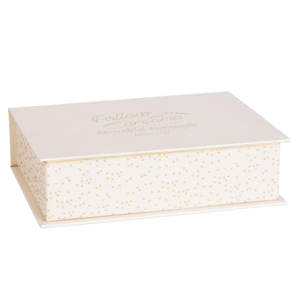 Boîte de rangement en carton imprimé gris   Maisons du Monde
