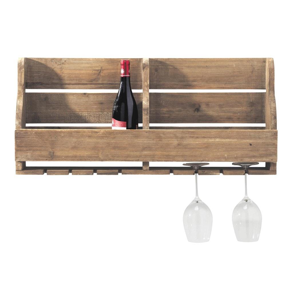Botellero para pared de madera theophile maisons du monde - Botellero de madera para vino ...