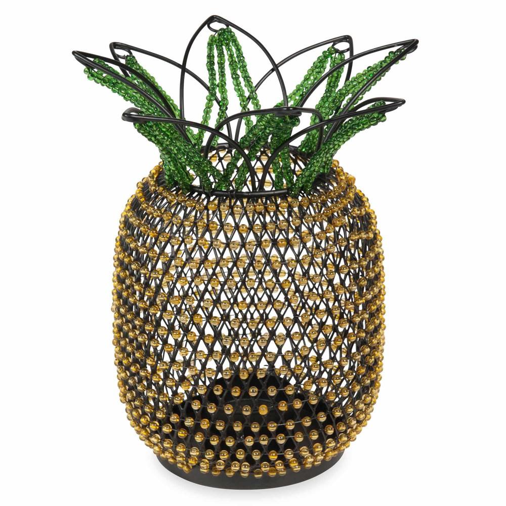 bougeoir en m tal et perles jaunes et vertes ananas. Black Bedroom Furniture Sets. Home Design Ideas