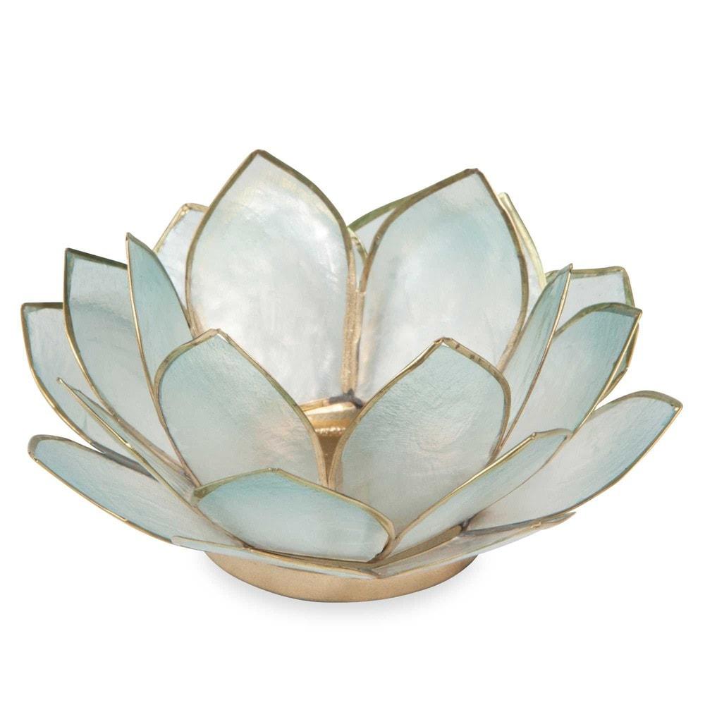 Bougeoir nacr en m tal bleu lotus maisons du monde - Maison du monde photophore ...