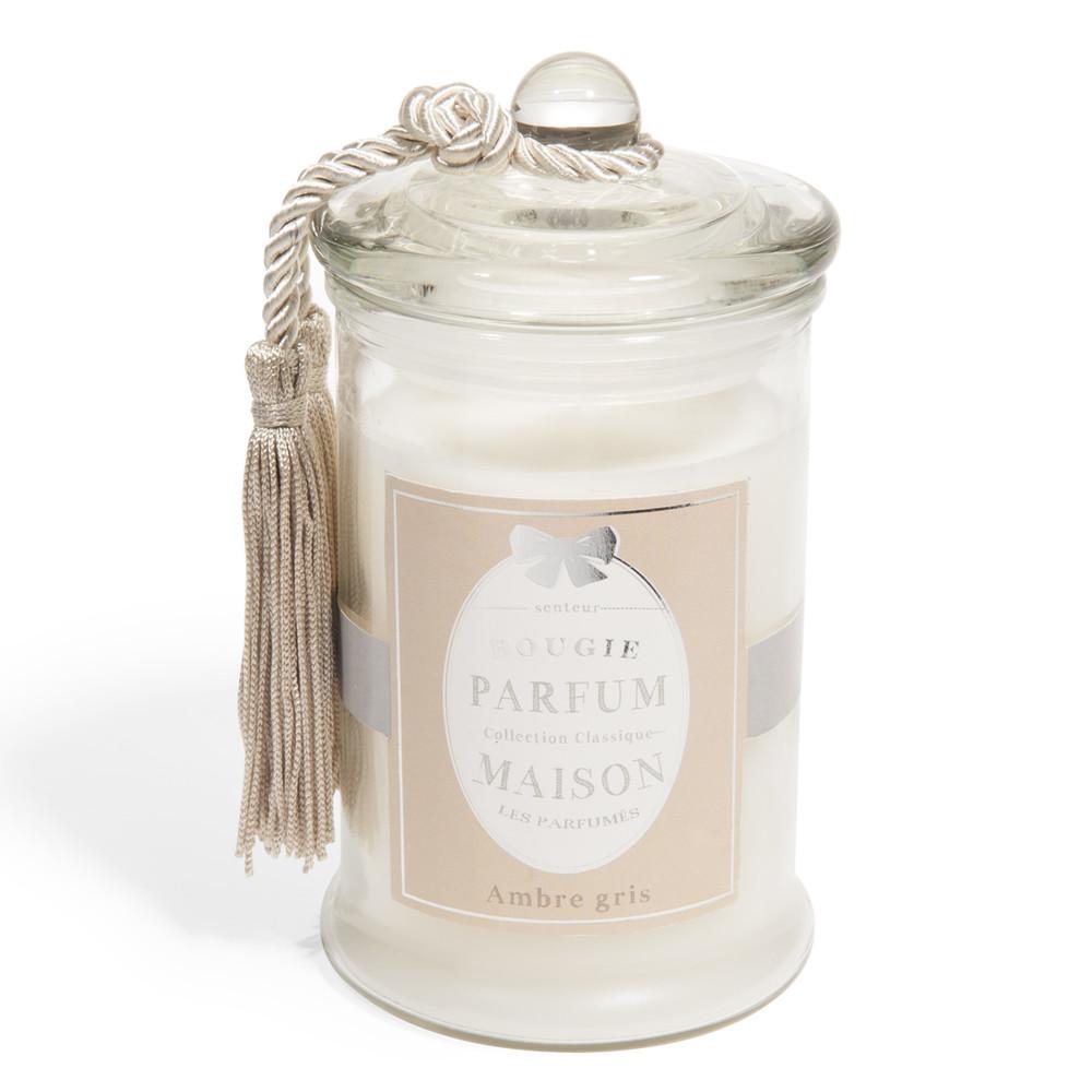 bougie en verre parfum ambre blanche h 15 cm classique maisons du monde. Black Bedroom Furniture Sets. Home Design Ideas