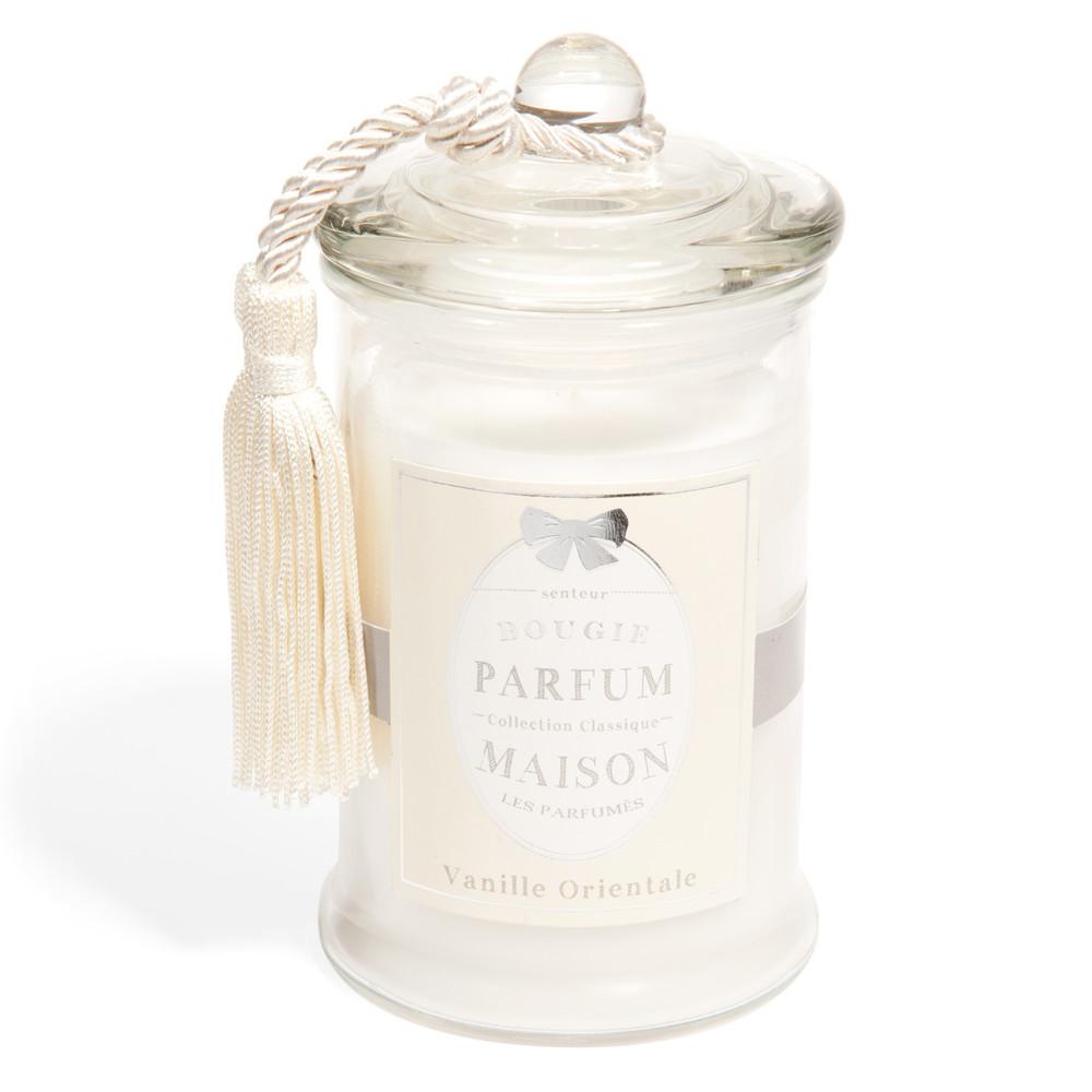 bougie en verre parfum vanille blanche h 15 cm classique maisons du monde. Black Bedroom Furniture Sets. Home Design Ideas