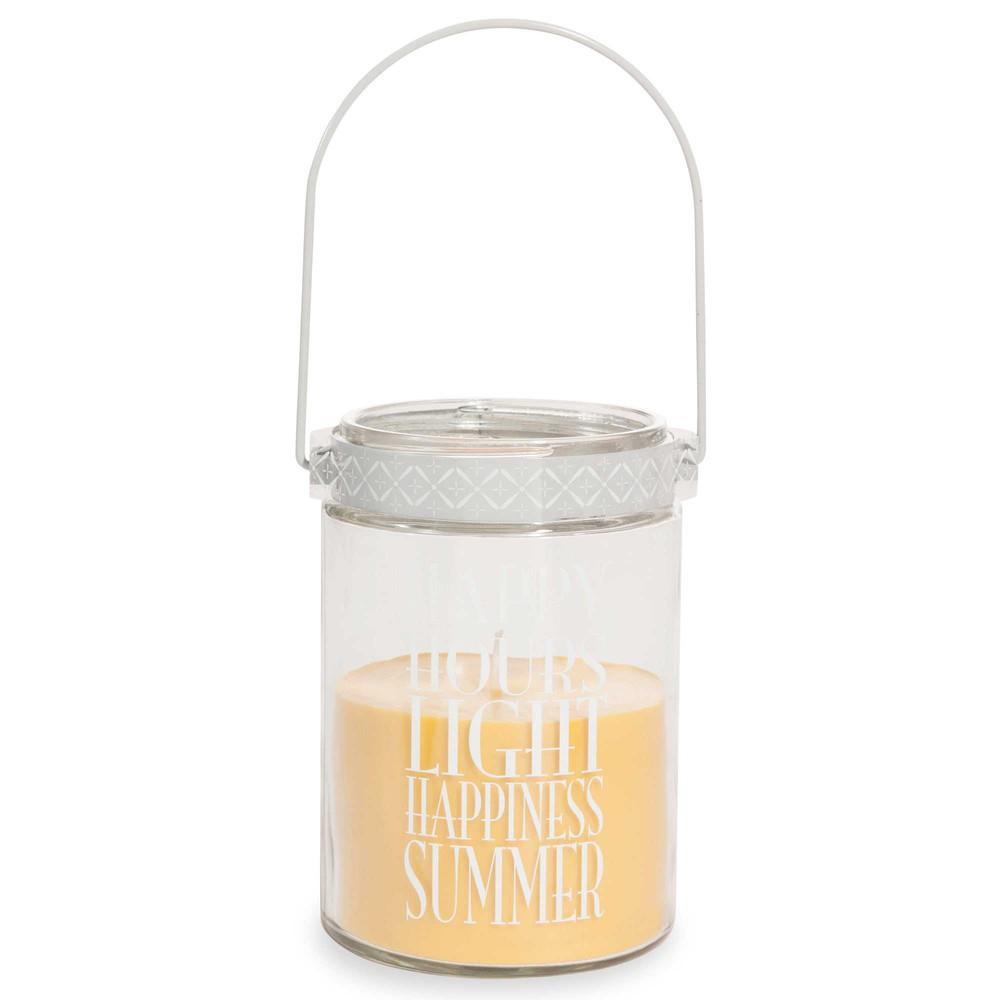 bougie lanterne en verre jaune h 17 cm happy maisons du monde. Black Bedroom Furniture Sets. Home Design Ideas
