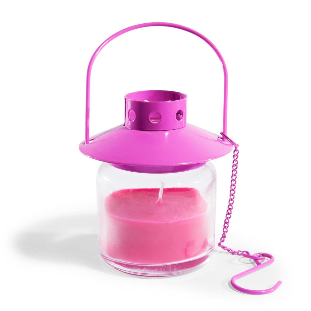 bougie lanterne en verre rose h 8 cm color maisons du monde. Black Bedroom Furniture Sets. Home Design Ideas