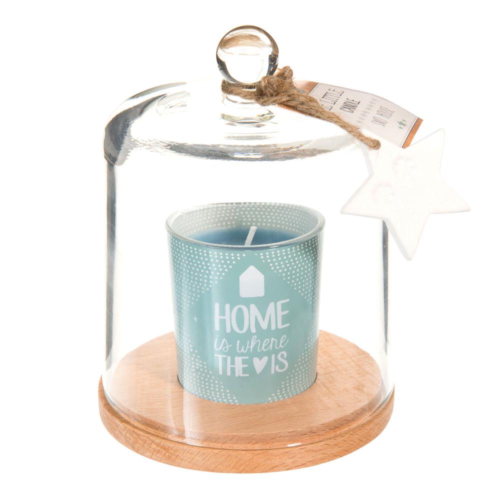 bougie sous cloche en verre bleue h 15 cm toile polaire maisons du monde. Black Bedroom Furniture Sets. Home Design Ideas