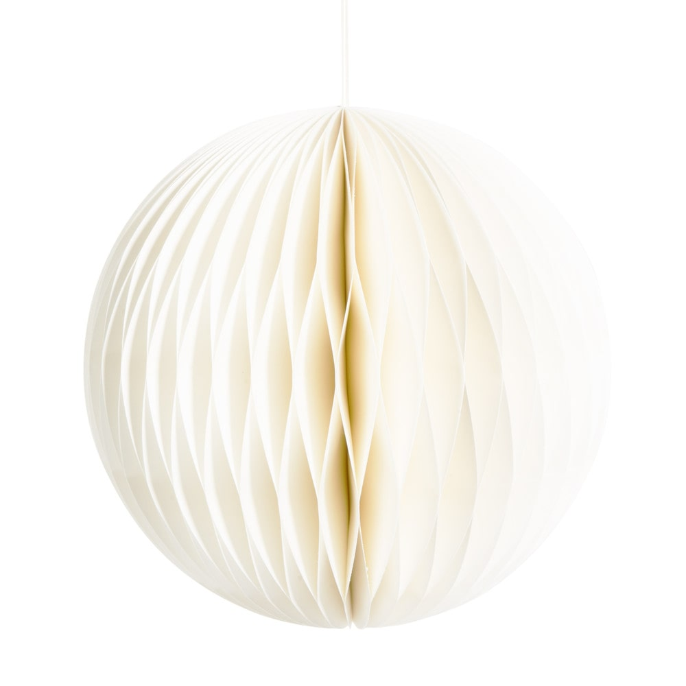 Boule suspendre en papier blanche d 23 cm woodstock maisons du monde - Boule papier a suspendre ...