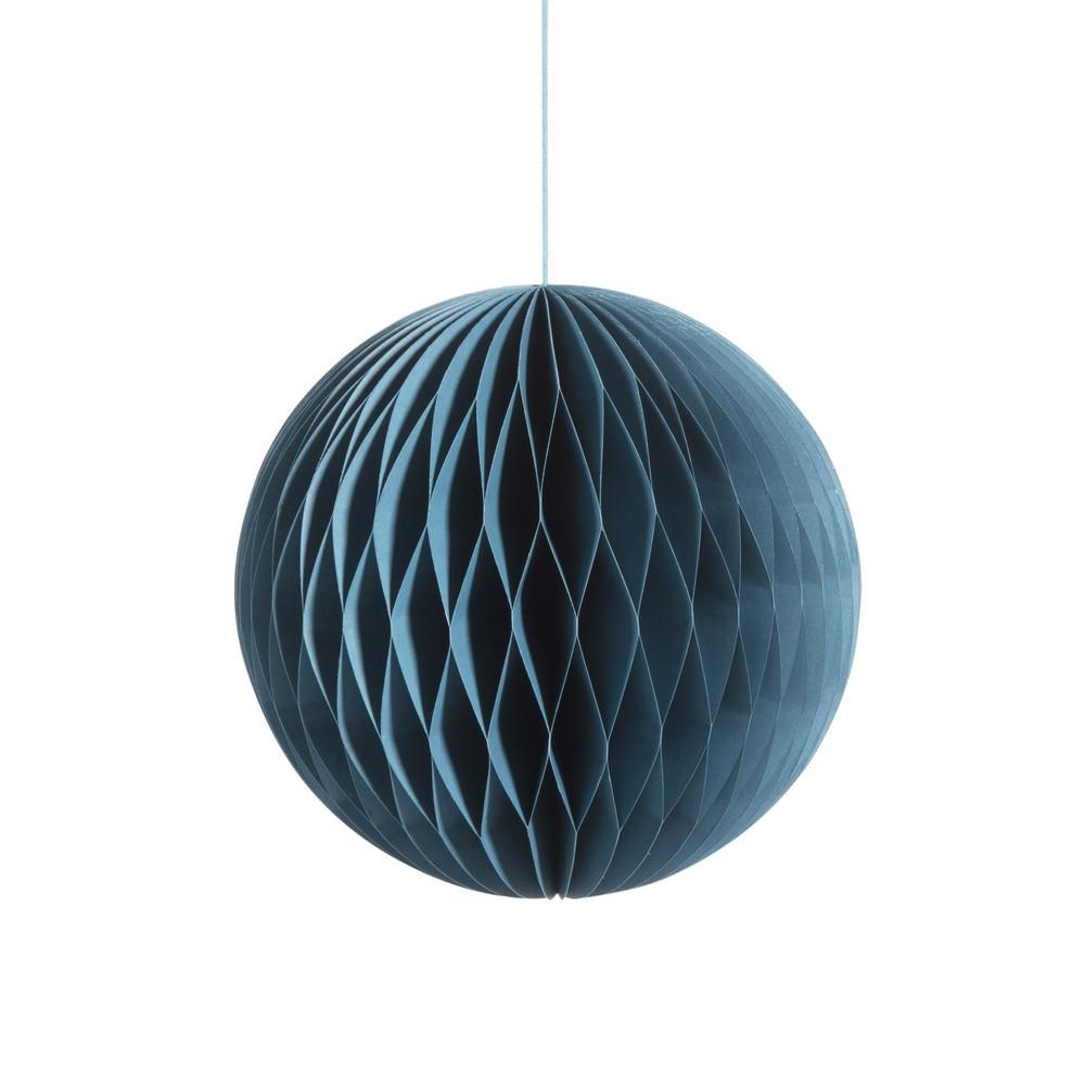 Boule suspendre en papier bleue d 18 cm woodstock maisons du monde - Boule papier a suspendre ...