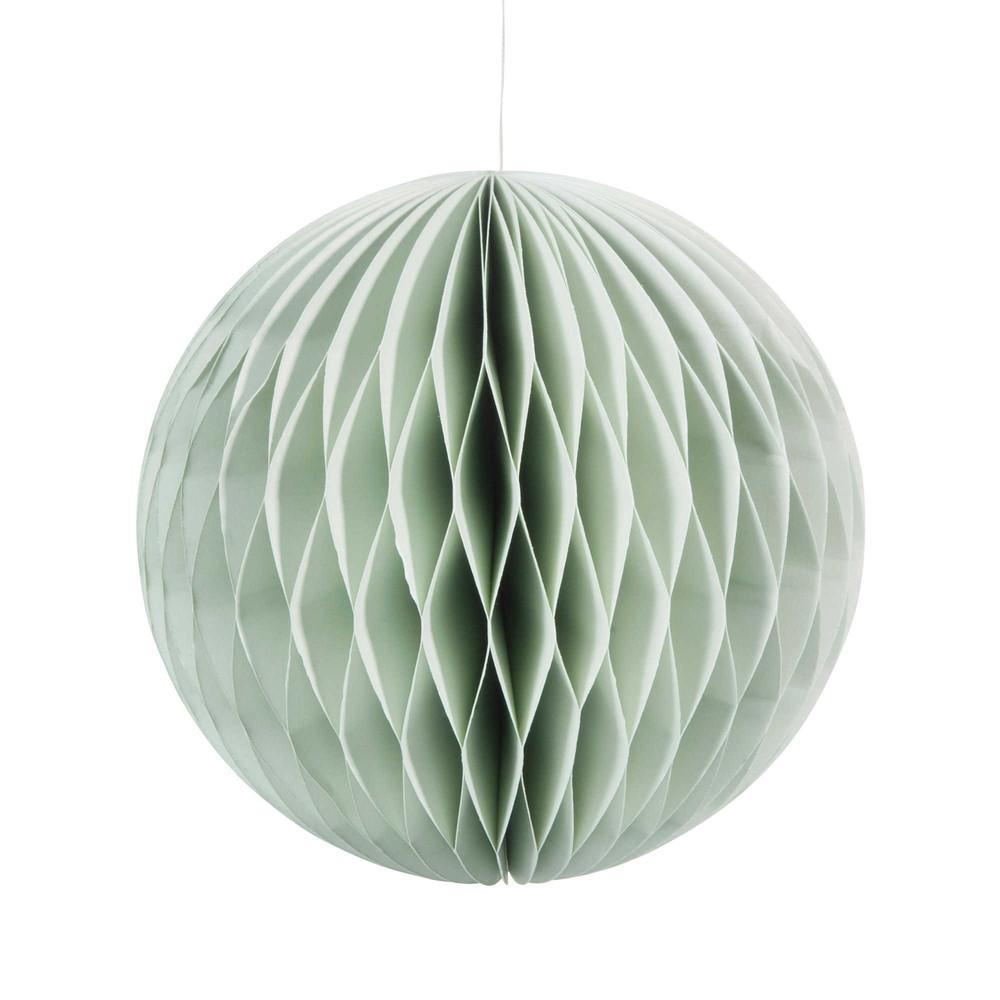 Boule suspendre en papier verte d 18 cm stockholm maisons du monde - Boule papier a suspendre ...