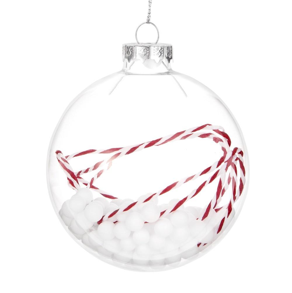 boule billes blanches en verre transparent flocons de neige maisons du monde. Black Bedroom Furniture Sets. Home Design Ideas