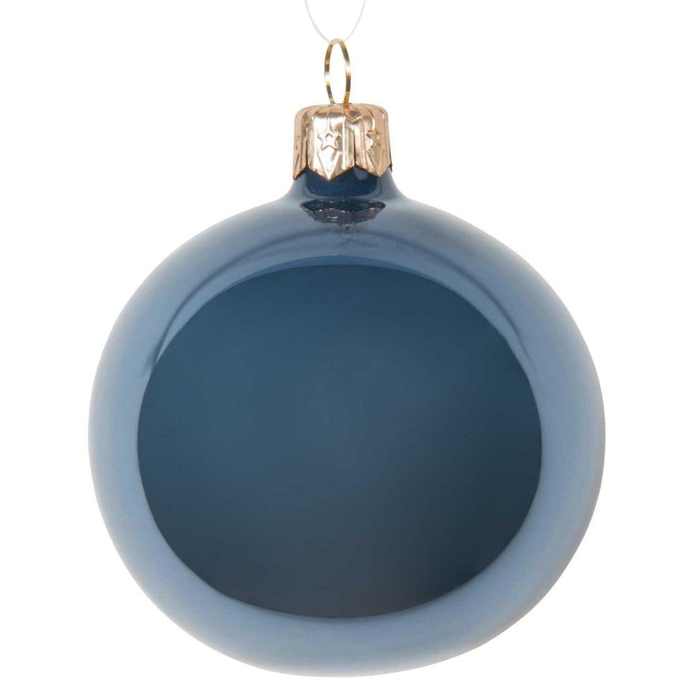 boule de no l bleu gris en verre 7 cm opale maisons du monde. Black Bedroom Furniture Sets. Home Design Ideas