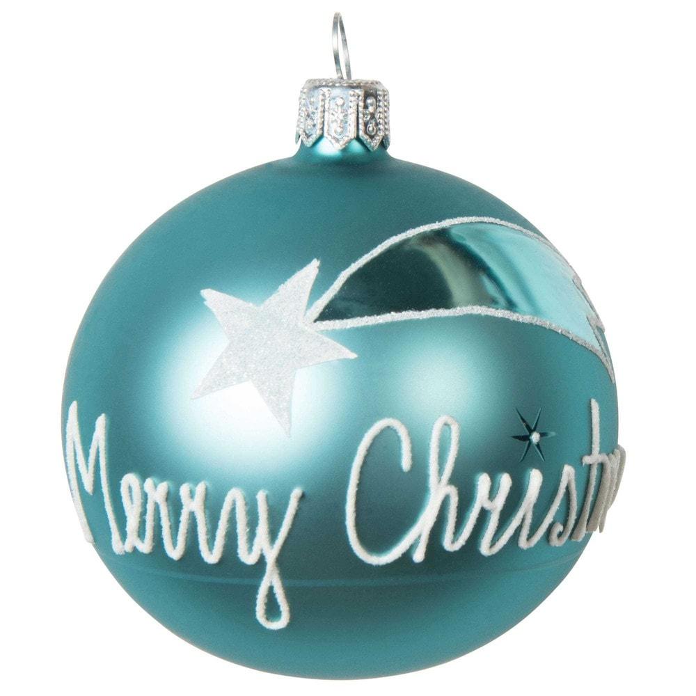 Boule de no l bleue merry christmas en verre 7 cm vintage maisons du monde - Boule de noel vintage ...
