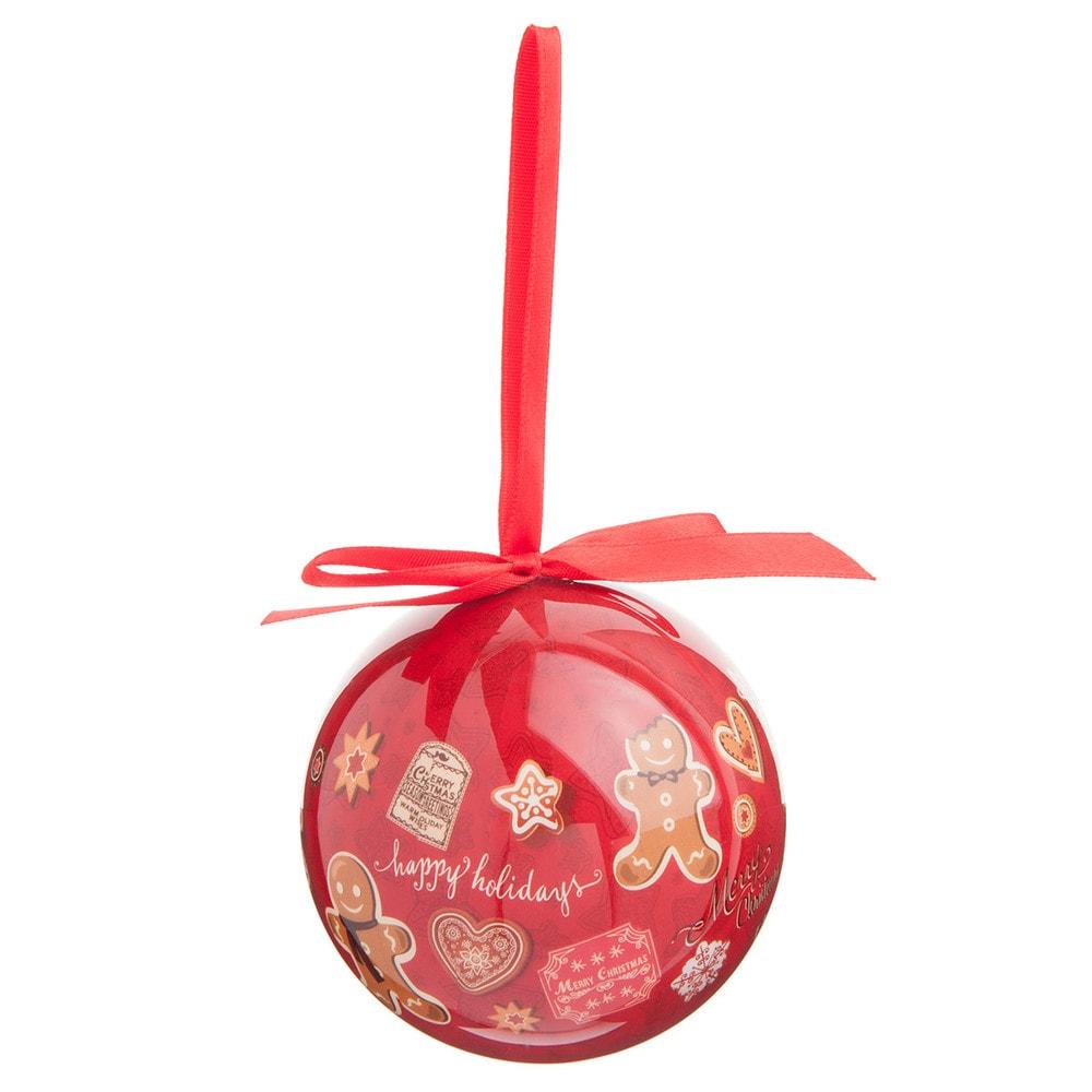 Boule de no l en plastique rouge 8 cm pain d 39 pice - Boule de noel rouge et blanche ...