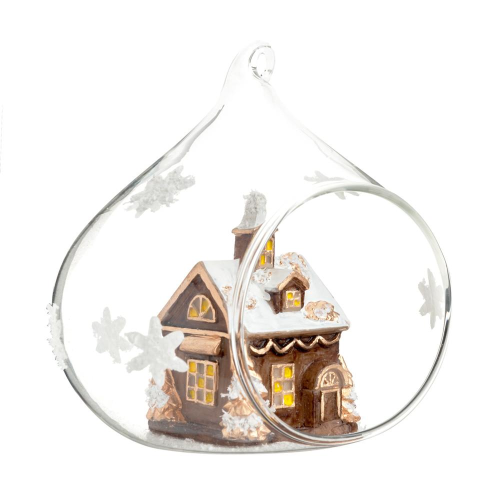 Boule de no l en verre 10 cm village de no l maisons du - Boule de noel maison du monde ...