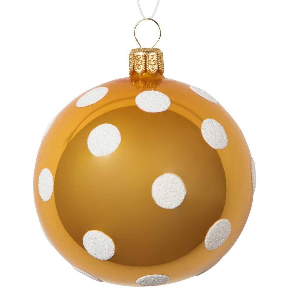 Boule de no l jaune pois blancs en verre 7 cm maisons du monde - Boule de noel vintage ...