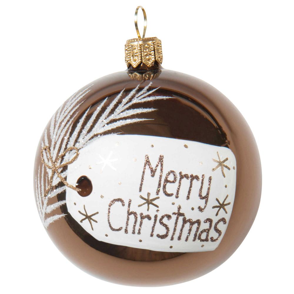 Boule de no l merry christmas en verre 7 cm winter - Boule de noel verre souffle ...