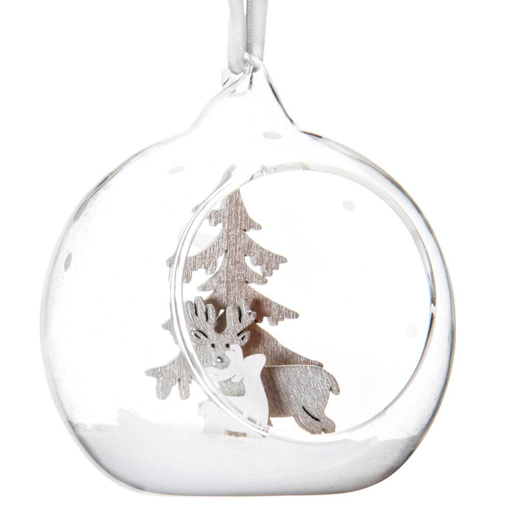 Boule de no l ouverte en verre argent 8 cm alpage maisons du monde - Boule en verre ouverte a suspendre ...