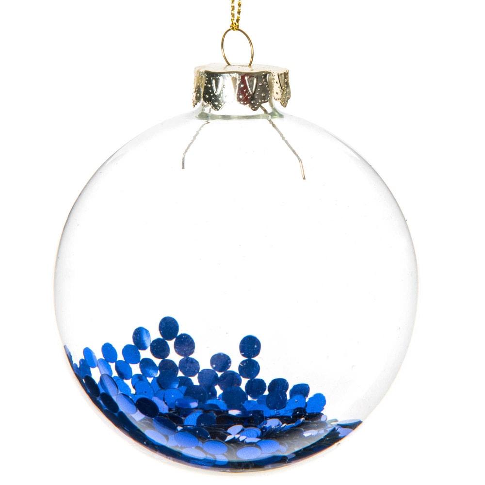 boule de no l paillettes bleues en verre 8 cm maisons du monde. Black Bedroom Furniture Sets. Home Design Ideas