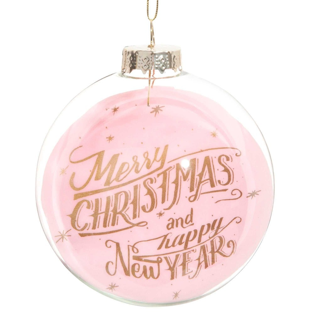 Boule de no l rose en verre 8 cm pink christmas maisons for Decoration de noel rose