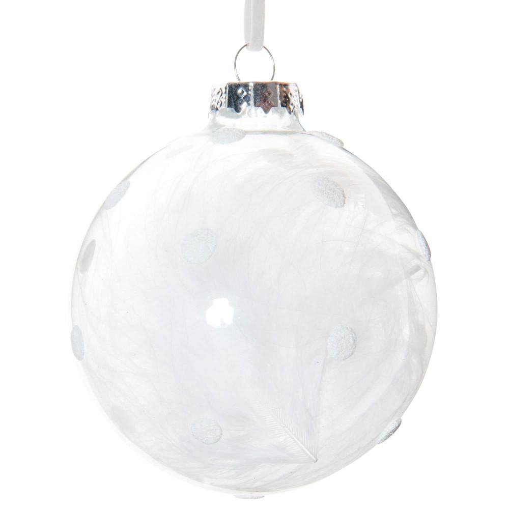 Boule transparente plume x 3 - Suspension boule plume ...