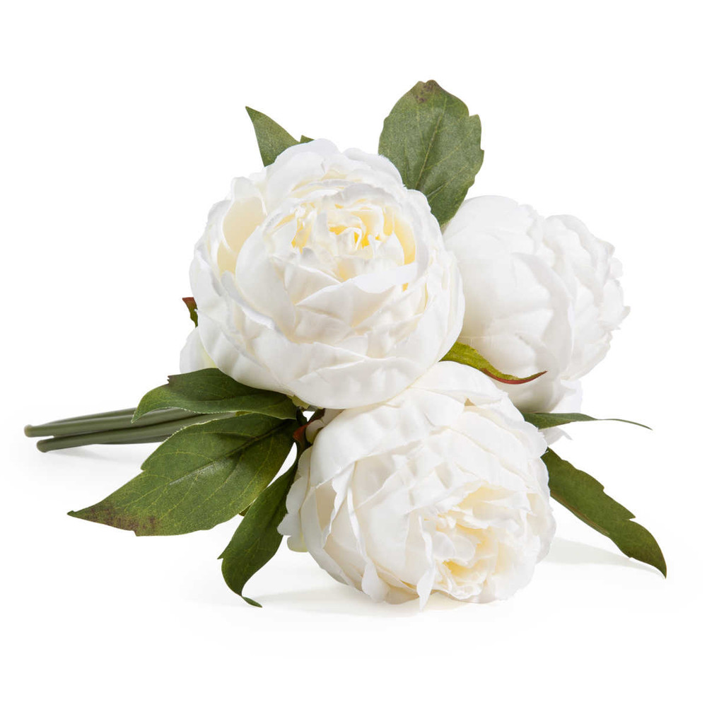 bouquet di fiori artificiali 3 peonie bianche maisons du monde. Black Bedroom Furniture Sets. Home Design Ideas