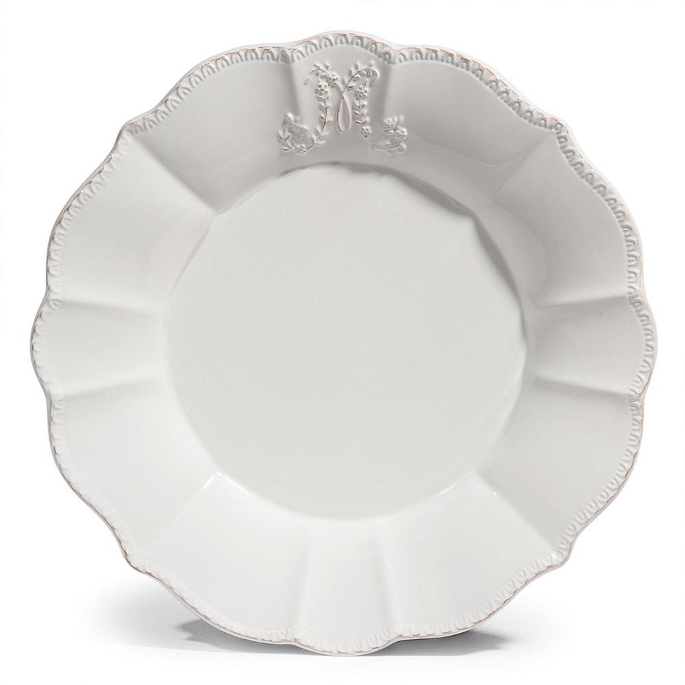 Bourgeoisie Earthenware Dinner Plate In White D 27cm