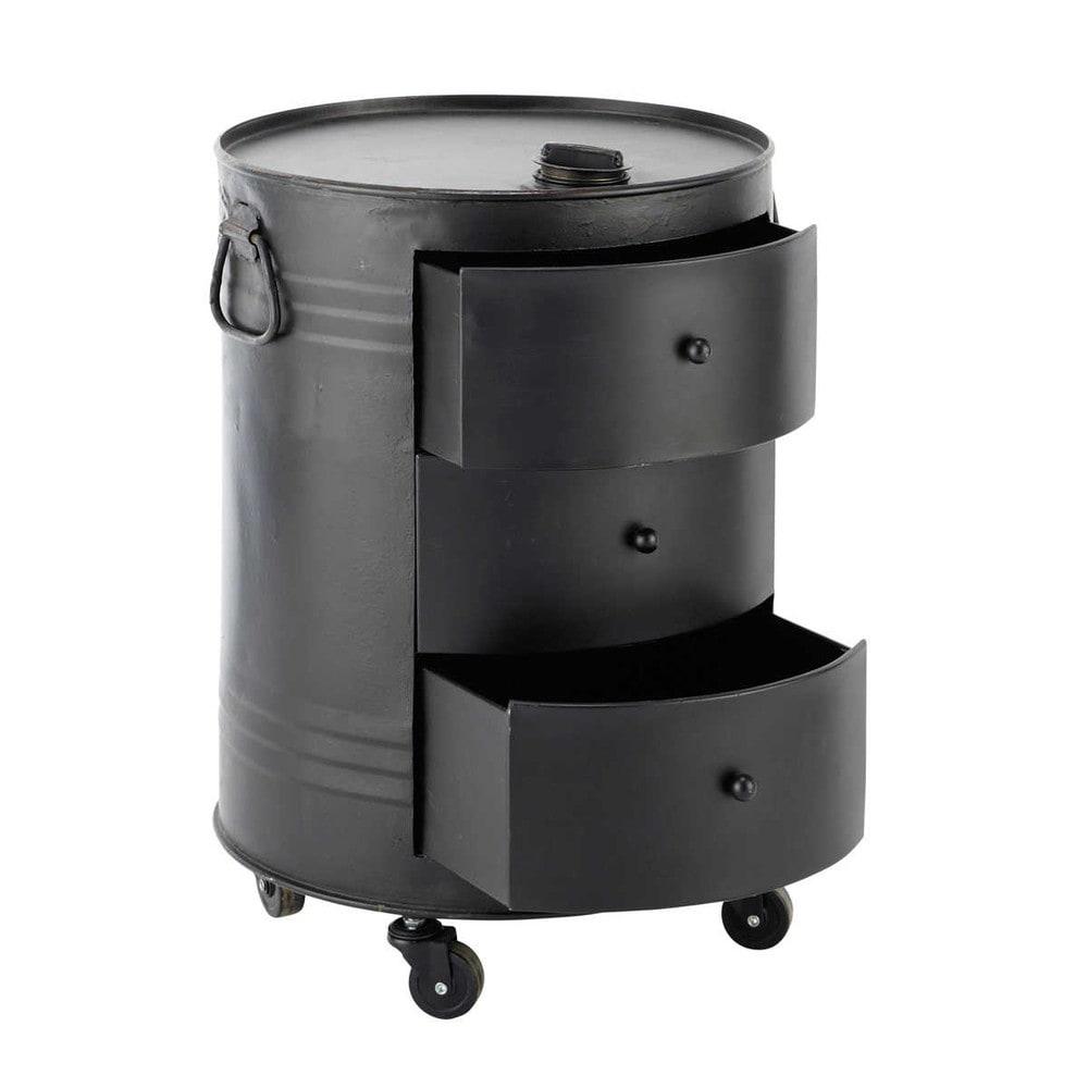 Bout de canap bidon en m tal noir l 42 cm clark maisons for Table de nuit style industriel