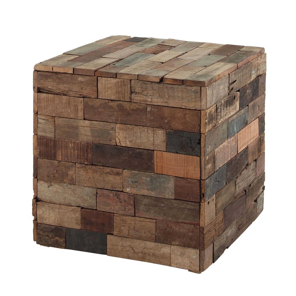 bout de canap cube en bois multicolore l 41 cm praja. Black Bedroom Furniture Sets. Home Design Ideas