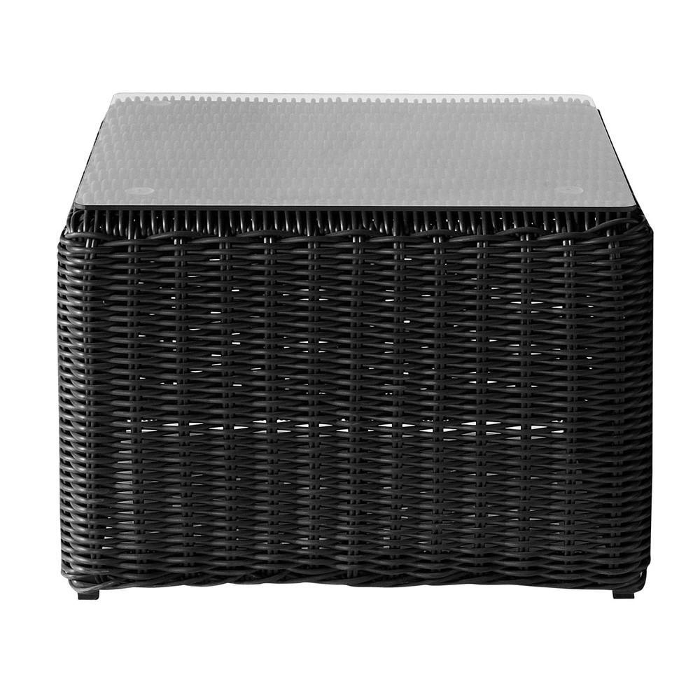 Bout de canap de jardin en r sine tress e noire cendre l - Petite table de jardin en resine tressee ...