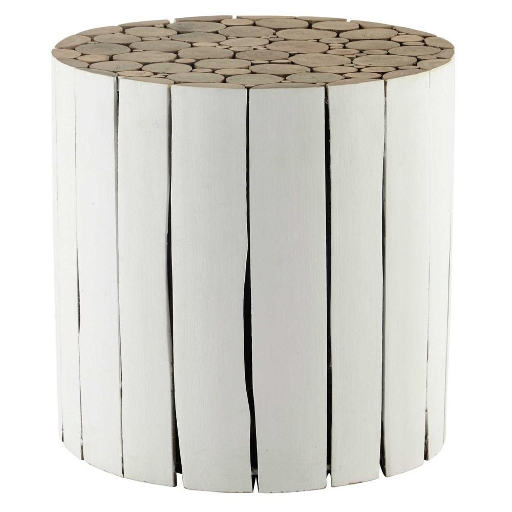 Bout de canap en bois blanc d 41 cm didda maisons du monde for Bout de canape maison du monde