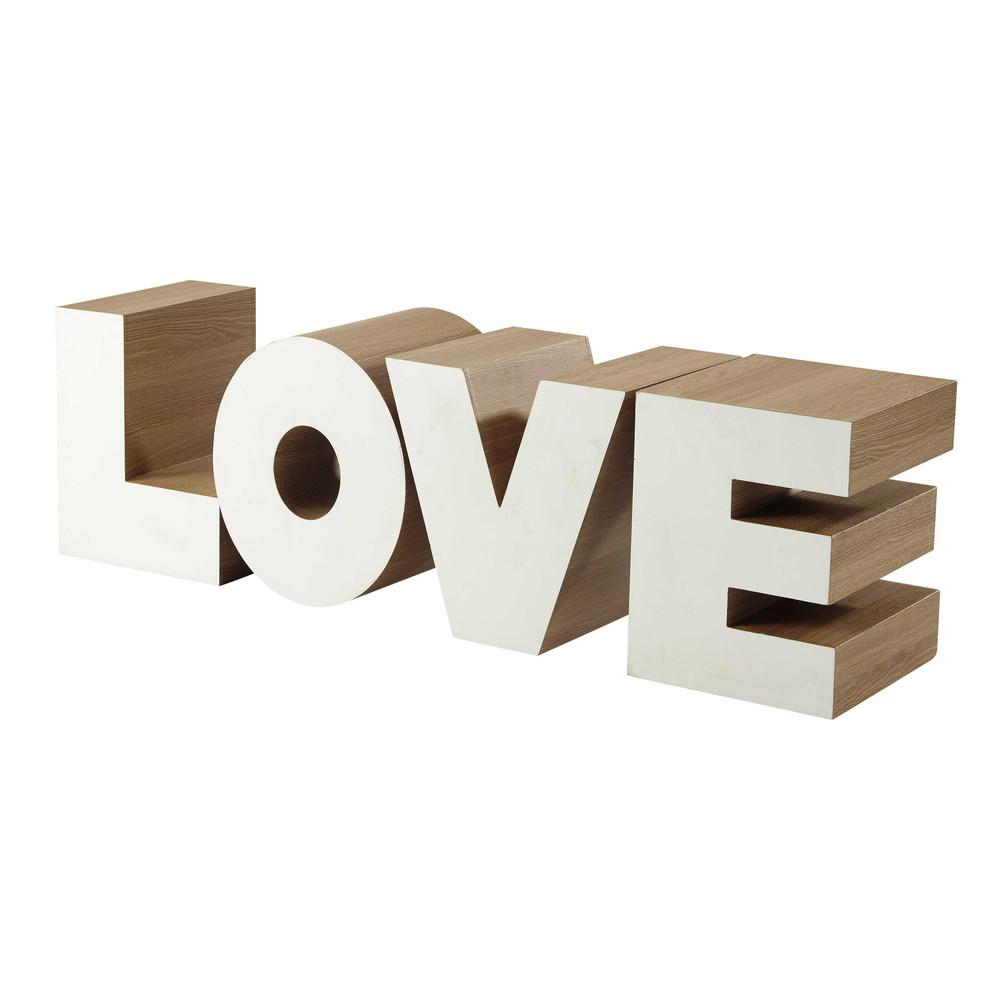 bout de canap en bois blanc l 121 cm love maisons du monde. Black Bedroom Furniture Sets. Home Design Ideas