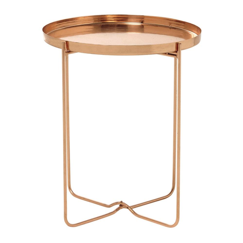 Bout de canap en m tal cuivr d 46 cm victoire maisons for Table bout de canape design