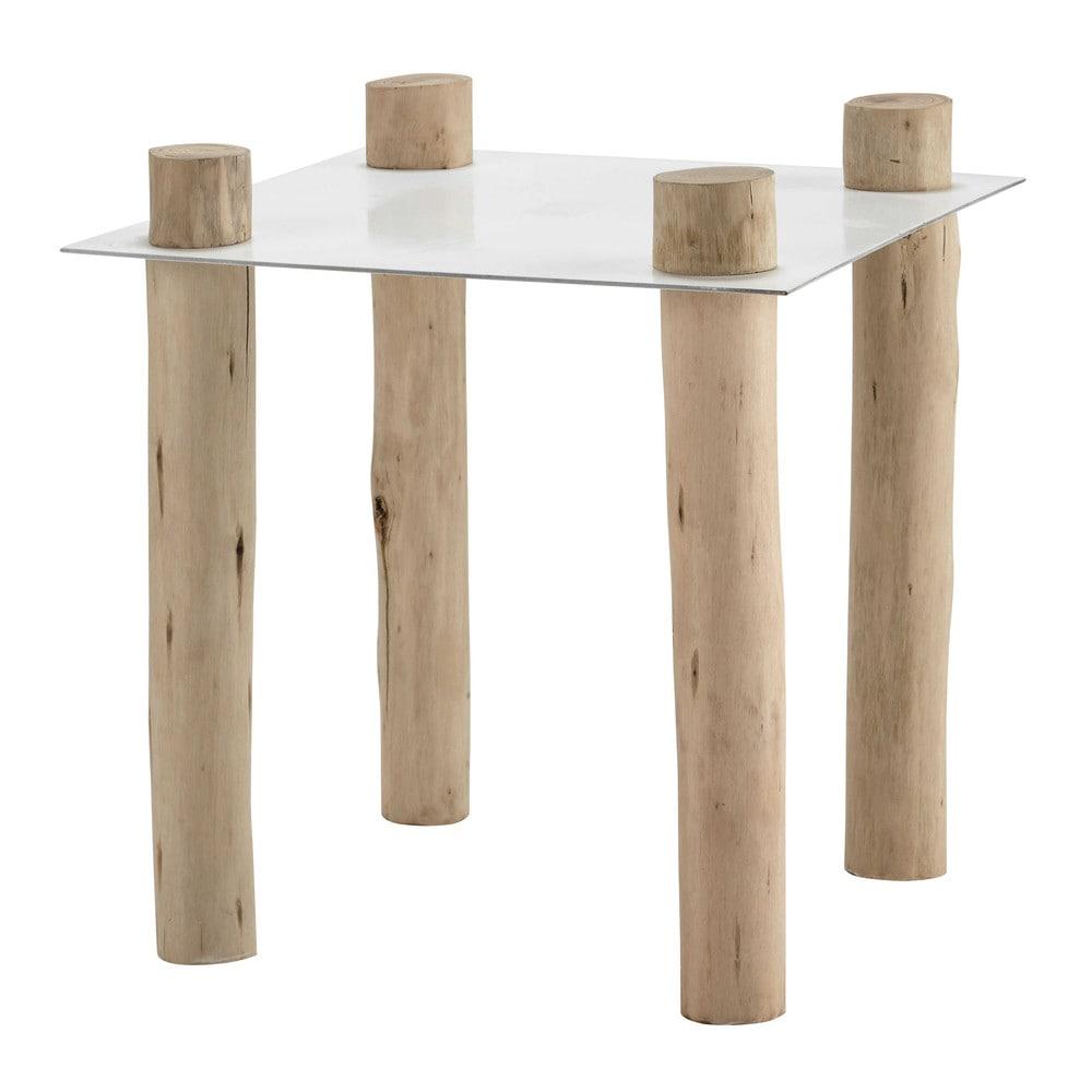 Bout de canap en m tal et bois blanc l 45 cm komodo maisons du monde - Bout de canape bois et metal ...