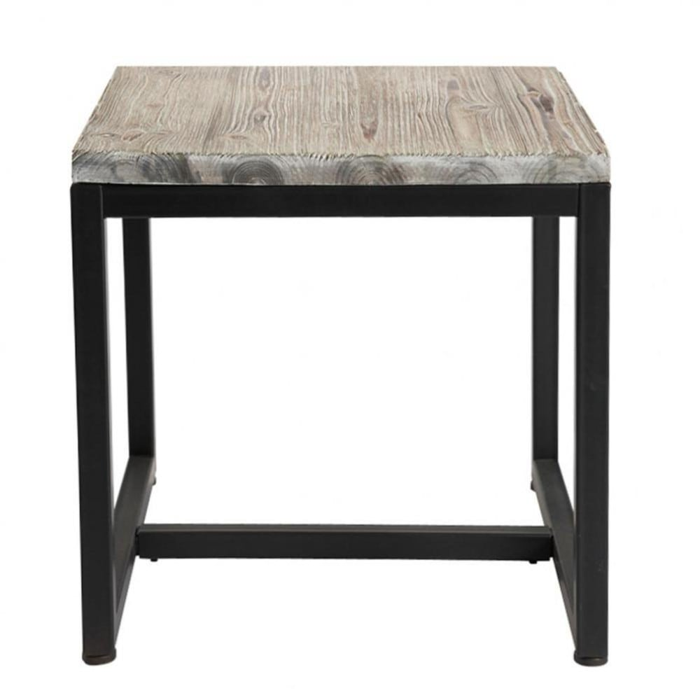 bout de canap indus en sapin massif blanchi et m tal long. Black Bedroom Furniture Sets. Home Design Ideas