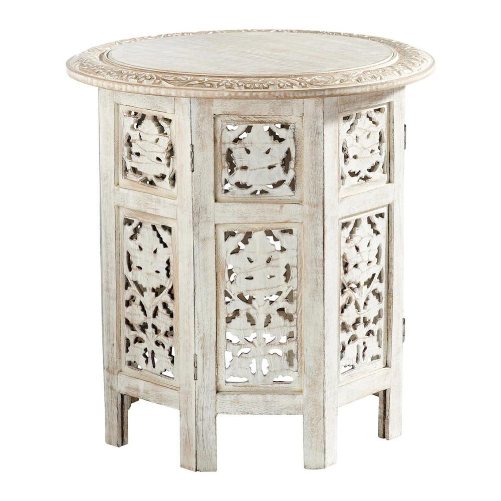 bout de canap sculpt blanchi l 46 cm saranya maisons. Black Bedroom Furniture Sets. Home Design Ideas