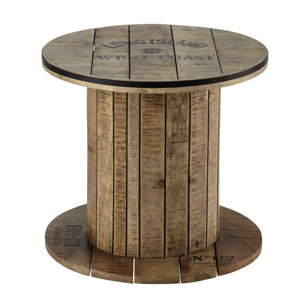 Bout de canap touret en manguier d 50 cm sailor maisons for Table basse bobine bois