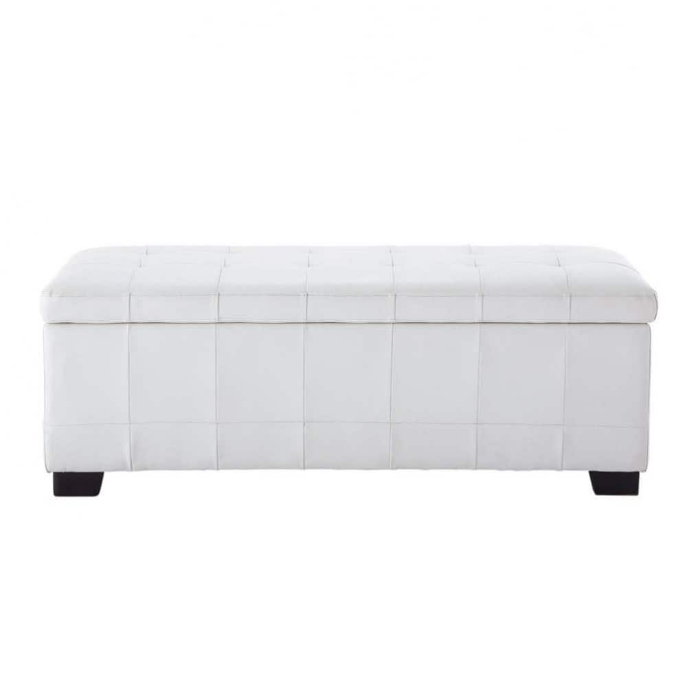 bout de lit imitation cuir blanc l 120 cm chesterfield. Black Bedroom Furniture Sets. Home Design Ideas
