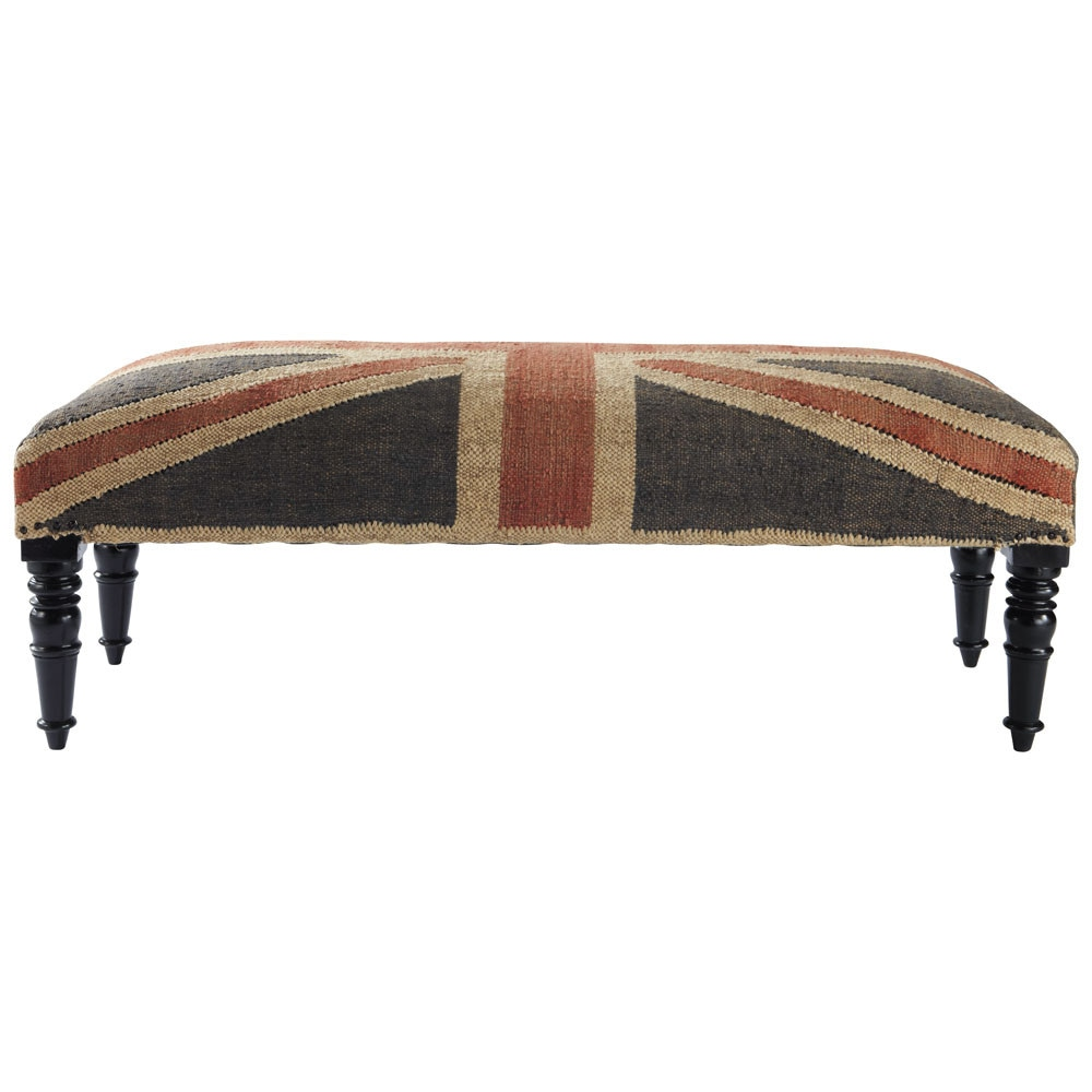 bout de lit union jack maisons du monde. Black Bedroom Furniture Sets. Home Design Ideas