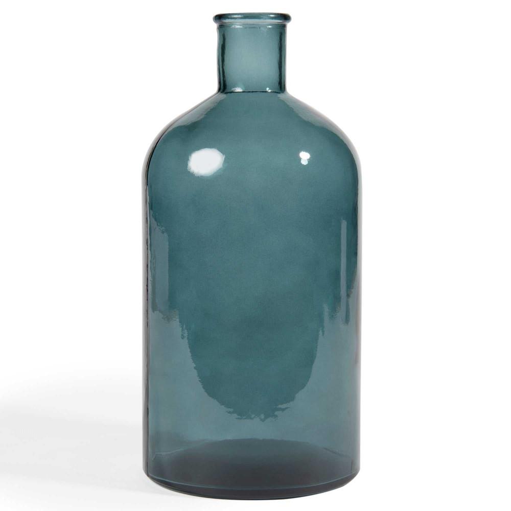 bouteille d co en verre bleu h 28 cm portobello maisons. Black Bedroom Furniture Sets. Home Design Ideas