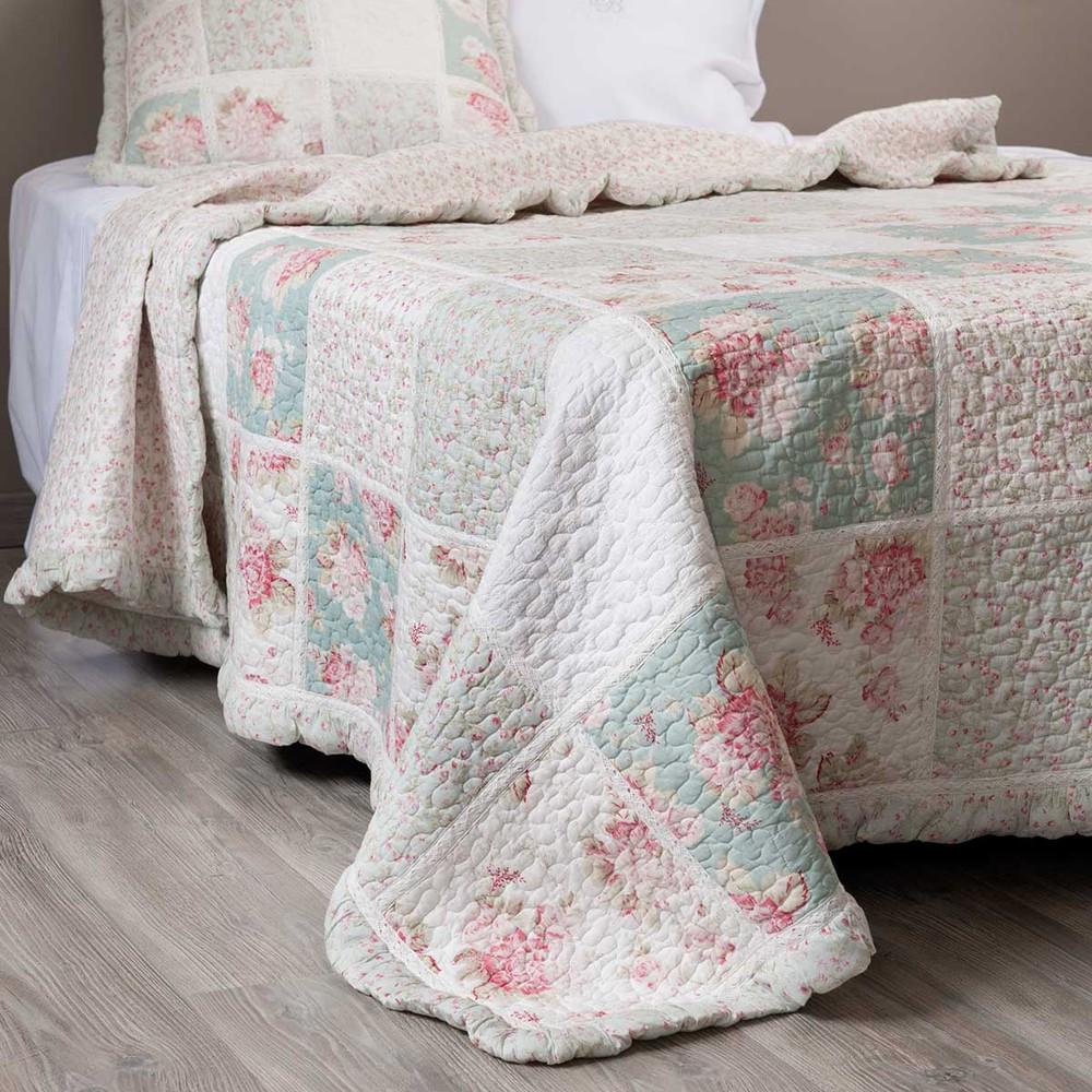 boutis fleurs en coton vert et rose 240 x 260 cm cam lia maisons du monde. Black Bedroom Furniture Sets. Home Design Ideas