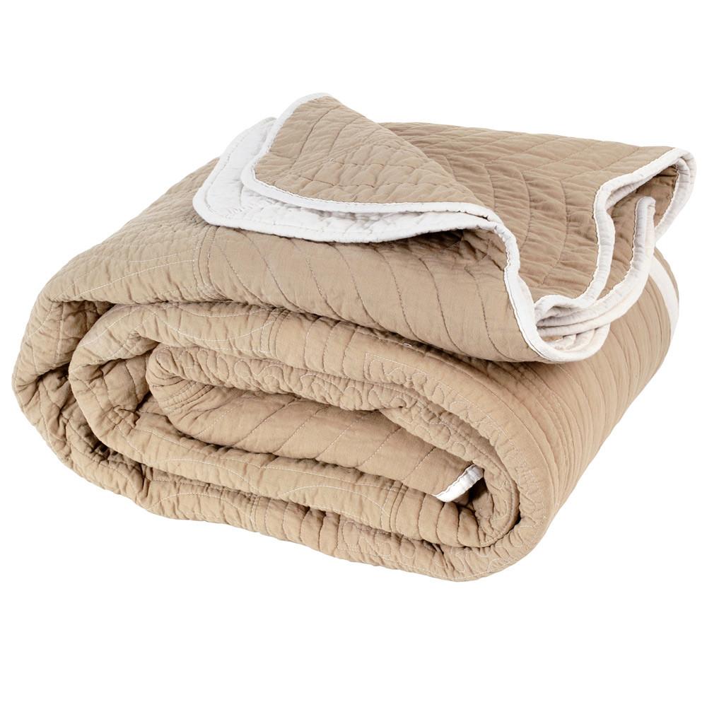 boutis r versible en coton beige 240 x 260 cm maisons du monde. Black Bedroom Furniture Sets. Home Design Ideas