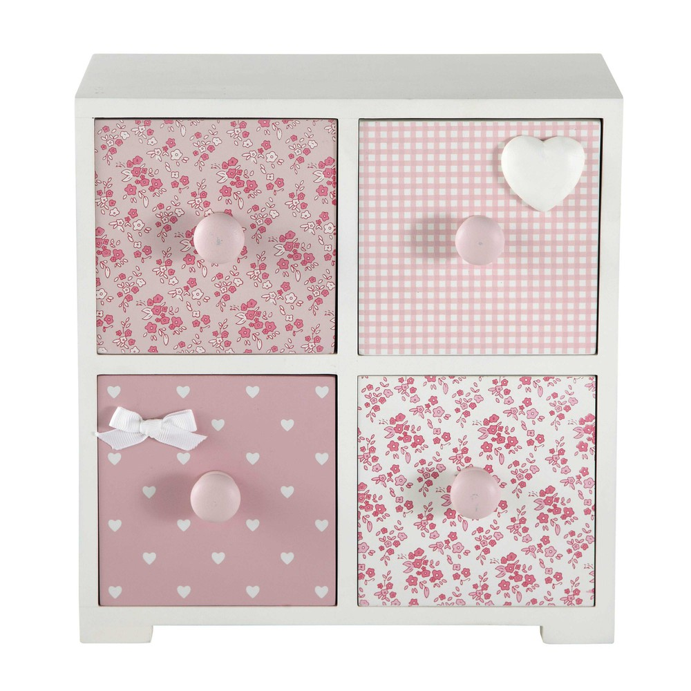 box mit 4 schubladen ine h 27 cm rosa maisons du monde. Black Bedroom Furniture Sets. Home Design Ideas