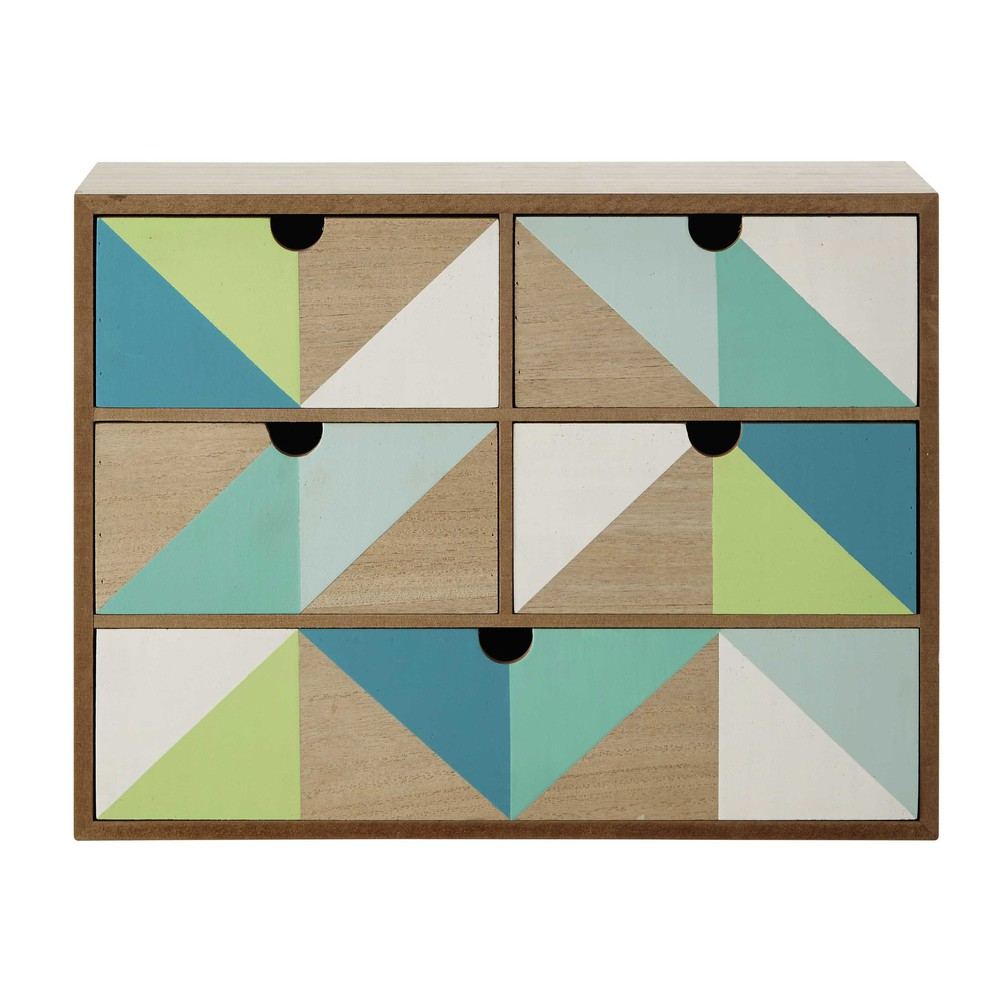box mit 5 schubladen gr n blau 30 x 40 cm leo maisons du monde. Black Bedroom Furniture Sets. Home Design Ideas