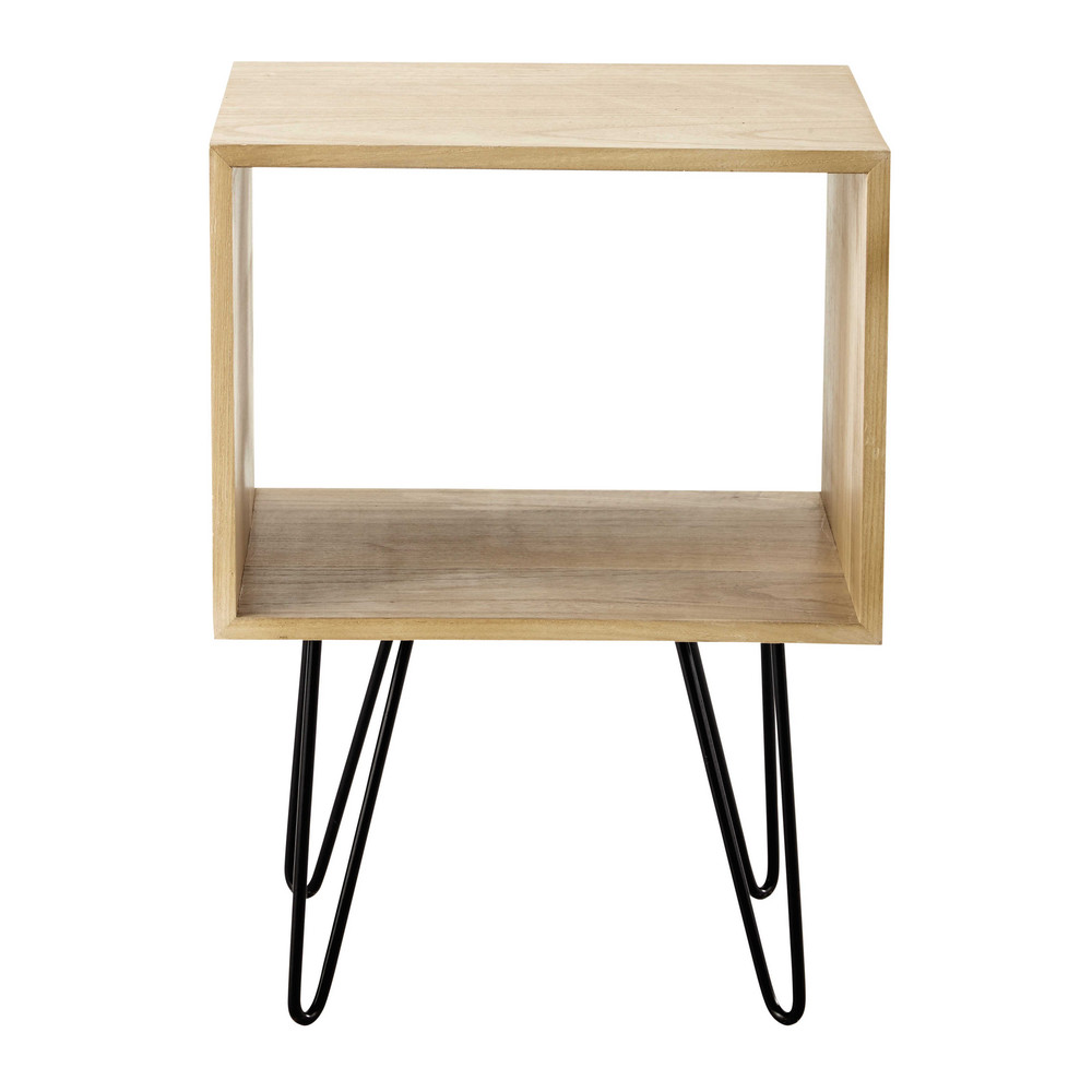 brady wooden side table w 40cm maisons du monde. Black Bedroom Furniture Sets. Home Design Ideas